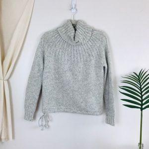 Madewell Snowbound Drawstring Mohair Grey Sweater